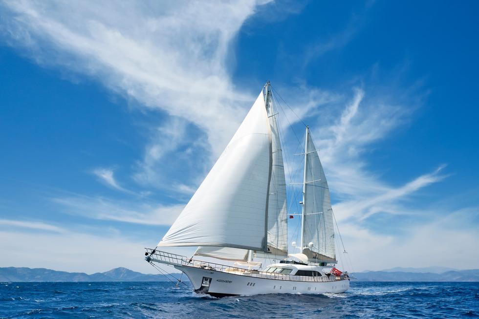 фото яхты с надутыми парусами что